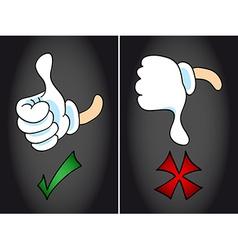 Thumb up and thumb down symbol vector