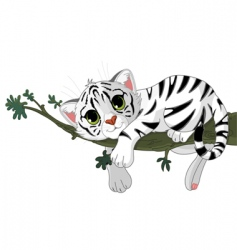 tiger is on a branch vector image vector image