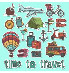 Travel sketch stickers set vector image vector image