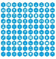 100 medical treatmet icons set blue vector image vector image