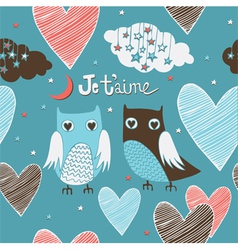 Valentines card owls couple seamless pattern vector