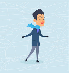 isolated cartoon boy skating on frozen surface vector image