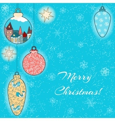 Christmas hand-drawn card with balls and stars vector image
