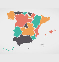 Spain map with states and modern round shapes vector
