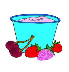 Delicious yogurt of the ripe berries vector