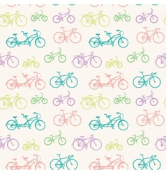 Seamless pattern with hand drawn bicycles vector