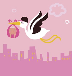Stork bird with baby girl vector
