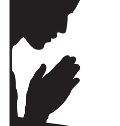 Guy praying silhouette vector