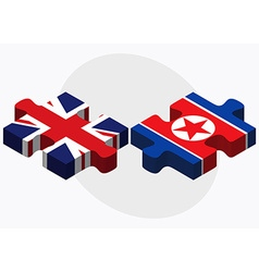 United kingdom and korea-north flags vector