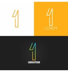 number one 1 logo design icon set background vector image