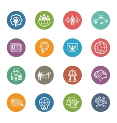 Flat design business icons set vector