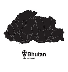 Bhutan map regions silhouette vector
