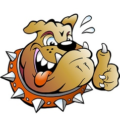 Cartoon of an excited bull dog giving thumb up vector