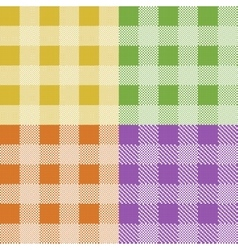 Set of colorful pixel gingham seamless patterns vector