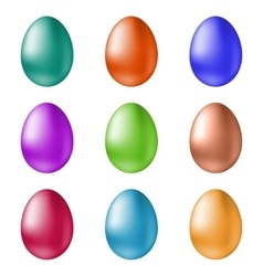 Set of colored easter eggs on a white background vector