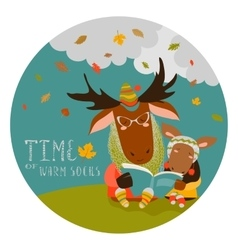 Cute elk with his cub reading book vector