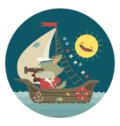 Cute captain wolf travelling by ship on sea vector