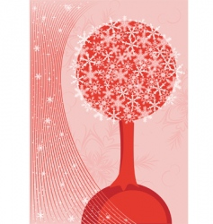 tree and snowflakes vector image