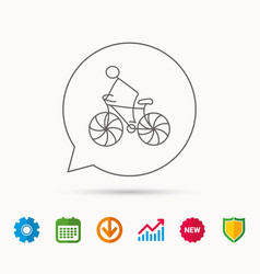 biking sport icon bicycle race sign vector image vector image