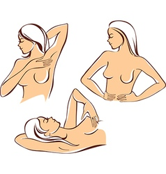 Breast self exam vector image