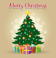 Cartoon christmas tree card vector