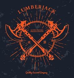 Crossed axes lumberjack graphic tee t-print vector