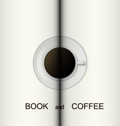 Cup of coffee on a opened book vector