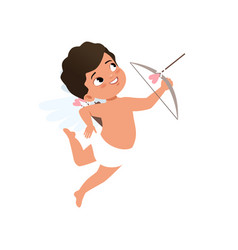 cute baby cupid character shooting a bow happy vector image