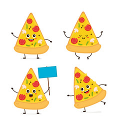cute smiling happy funny cute pizza slice vector image vector image