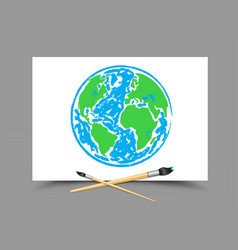 drawing earth on white paper vector image