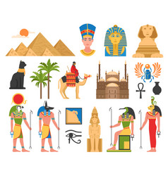 Egyptian art flat collection vector