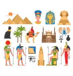 Egyptian art flat collection vector
