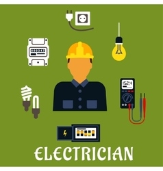 Electrician with devices and tools vector image vector image