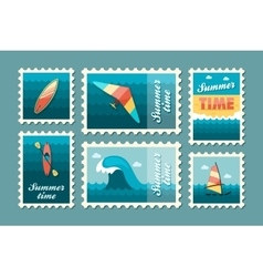 Extreme Water Sport stamp set Summer Vacation vector image vector image