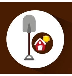 Farm countryside shovel tool design vector