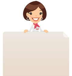 female manager looking at blank poster on top vector image vector image