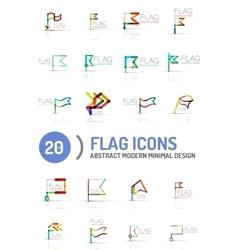 Flag icon logo set linear design vector