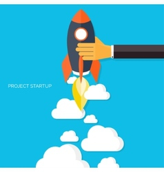 Flat rocket icon Startup concept Project vector image