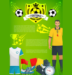 Football sport game banner with soccer club badge vector