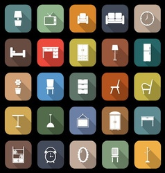 Furniture flat icons with long shadow vector image