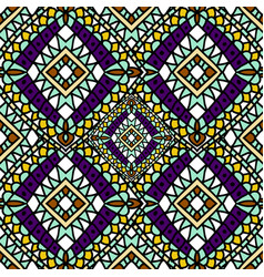 Green purple autumn ethnic seamless pattern vector
