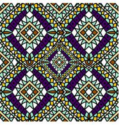 Green purple autumn ethnic seamless pattern vector