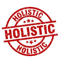Holistic round red grunge stamp vector