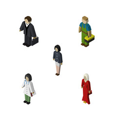 Isometric person set of female girl investor and vector