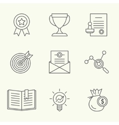 Modern line icons of developing startup strategy vector image vector image