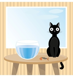 Naughty cat ate fish vector image