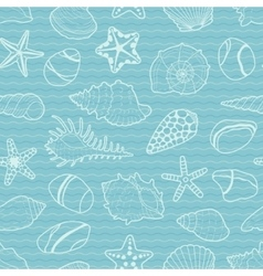 pattern of white sea shells stars stones vector image vector image