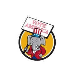 Republican elephant mascot vote america circle vector