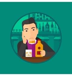 Sad man drinking alcohol vector
