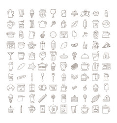 set of doodle cofee icons vector image vector image